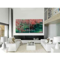 Intensywna abstrakcja dyptyk - abstrakcyjne obrazy do modnego salonu rabat 20%