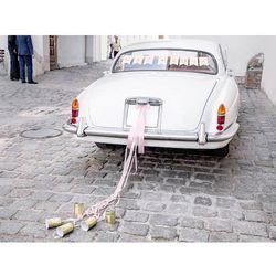 Zestaw dekoracji samochodowych jasnoróżowy Mąż Żona - 5 elem.