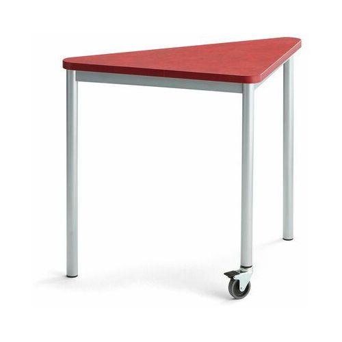 Pozostałe meble biurowe, Stół SONITUS TRIANGEL, z kółkiem, 905x605x720 mm, czerwone linoleum, szary aluminium