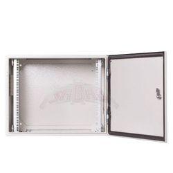 """Szafa wisząca rack 19"""" 9Ux600x600 mm IP54 Ściany boczne pełne Drzwi pełne Zewnętrzna Szara SWK19-9U-60-DP-Z"""