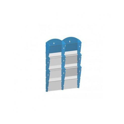 Ramy,stojaki i znaki informacyjne, Plastikowy uchwyt ścienny na ulotki - 2x3 A4, niebieski