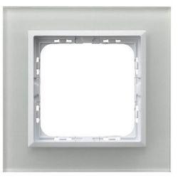 OSPEL SONATA R-1RGC/31/00 Ramka pojedyncza BIAŁY Białe szkło, grubość 4mm