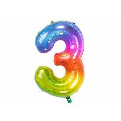Balon foliowy cyfra 3 tęczowy - 86 cm - 1 szt.