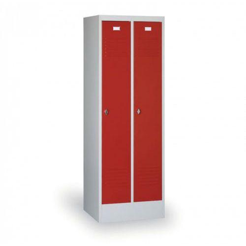Szafki do przebieralni, Metalowa szafka ubraniowa, czerwone drzwi, zamek cylindryczny