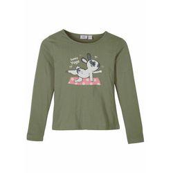 Shirt dziewczęcy z długim rękawem, bawełna organiczna bonprix oliwkowy