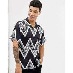 ASOS DESIGN oversized fit shirt with puppytooth chevron stripe in satin - Black