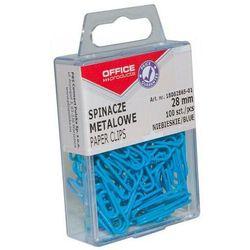 Spinacze kolorowe OFFICE PRODUCTS, powlekane, 28mm, w pudełku, 100szt., niebieskie