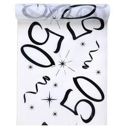 Dekoracja bieżnik na stół z nadrukiem na 50 urodziny - 30 cm - 1 szt.