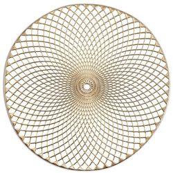 """Złota podkładka koronkowa z tworzywa """"Mandala"""", podkładki pod talerze, podkładki na stół nowoczesne, podkładki na stół okrągłe, ZELLER"""