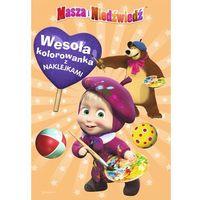 Kolorowanki, Masza i niedźwiedź wesoła kolorowanka z naklejkami - MARTA JAMRÓGIEWICZ