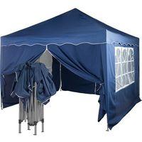 Namioty ogrodowe, EKSPRESOWY NIEBIESKI PAWILON NAMIOT OGRODOWY 3X3M + 4 ŚCIANKI - Niebieski (odcień granatowy)