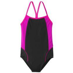 Kostium kąpielowy dziewczęcy bonprix czarno-różowy neonowy