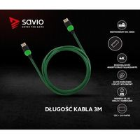 Kable video, Kabel HDMI v2.0 Savio GCL-06 3,0m, dedykowany do XBOX, gamingowy, OFC, 4K, zielono-czarny, złote końcówki
