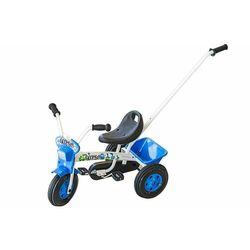 Rower trójkołowy TURBO 1 biało-niebieski z uchwytem do prowadzenia