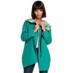 Zielona Rozpinana Luźna Bluza z Kwiecistym Kapturem