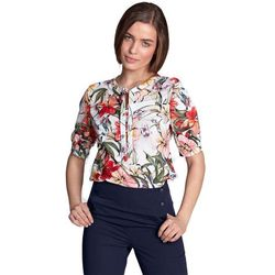 Bluzka z wiązaniem - kwiaty/ecru - B101
