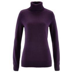 Sweter z golfem bonprix ciemny lila