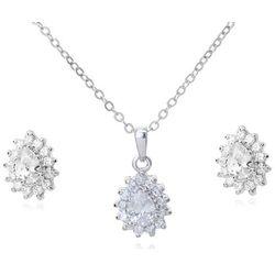 KPL 599/570 komplet kolczyki i wisiorek z krystalicznymi łezkami plus łańcuszek, srebrny