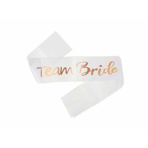 Pozostałe wyposażenie domu, Biała szarfa z napisem Team Bride - 1 szt.