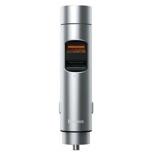 Transmitery samochodowe, Baseus Transmiter FM Bluetooth 5.0 ładowarka samochodowa 2x USB 3 A 18 W PPS Quick Charge 3.0 AFC FCP srebrny (CCNLZ-C0S) - Srebrny
