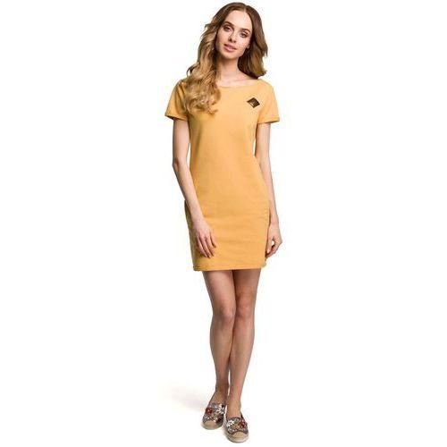 Suknie i sukienki, Żółta Dopasowana Mini Sukienka z Ozdobną Naszywką