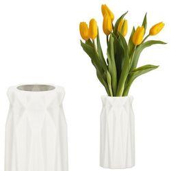 Wazon 18cm nietłukący na kwiaty do salonu, kuchni kremowy nowoczesny