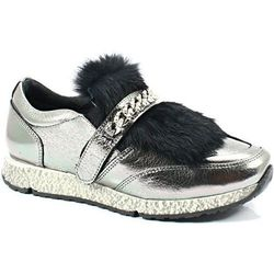 VENEZIA 278973R94 SREBRNE - Sneakersy z futerkiem