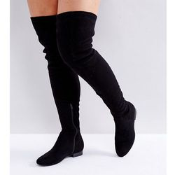 ASOS KASBA Wide Fit Flat Over The Knee Boots - Black