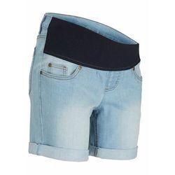 """Szorty ciążowe dżinsowe z paskiem pod brzuch bonprix jasnoniebieski """"bleached"""""""