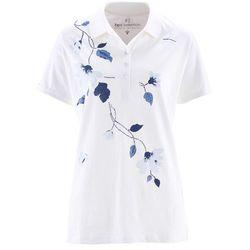Shirt polo bonprix biało-ciemnoniebieski z nadrukiem