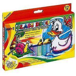 Farby witrażowe 12 kolorów x 10,5ml Glass Deco Amos GD10P12R