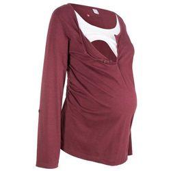 Shirt bawełniany ciążowy i do karmienia, długi wywijany rękaw bonprix czerwony klonowy