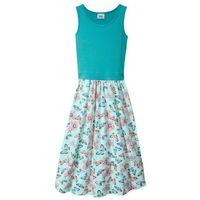 Sukienki dziecięce, Letnia sukienka, dł. do kostki bonprix zielony morski - pastelowy miętowy z nadrukiem