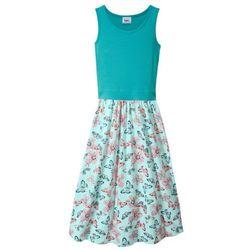 Letnia sukienka, dł. do kostki bonprix zielony morski - pastelowy miętowy z nadrukiem