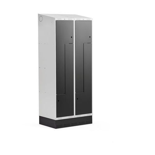 Szafki do przebieralni, Szafka ubraniowa typu Z, CLASSIC, cokół, 2 moduły, 4 drzwi, 2050x800x550 mm, czarny