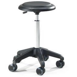 Mobilny stołek warsztatowy DIEGO, 440-570 mm, czarna eko-skóra
