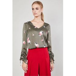 Bluzka w kwiaty Conesa Khaki - Click Fashion