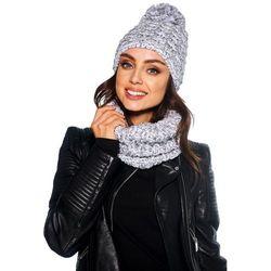 Kobiecy komplet czapka z pomponem i komin LC114 jasnoszary