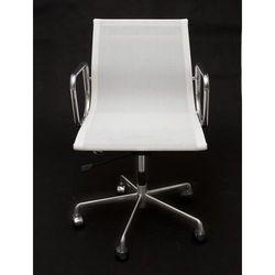 Fotel biurowy CH inspirowany EA117 siateczka, chrom - biały