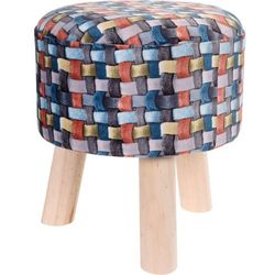 Pufa bawełniana, siedzisko, podnóżek, kolorowy - 32 x 35 cm