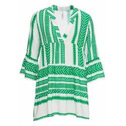 Krótka sukienka letnia bonprix zieleń trawy - biały wzorzysty
