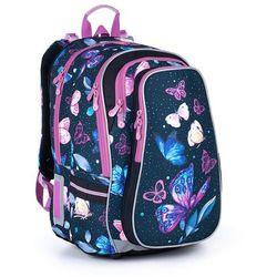 Pojemny plecak szkolny w motyle i kwiaty Topgal LYNN 21007 G
