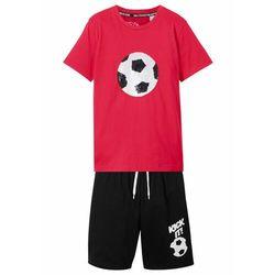 Shirt z obracanymi cekinami + krótkie spodenki (2 części) bonprix czerwono-czarny