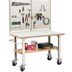 Mobilny stół roboczy SOLID 400, z wyposażeniem, 1500x800 mm, laminat