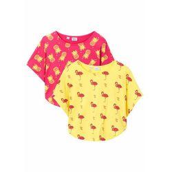 Shirt plażowy dziewczęcy (2 szt.) bonprix jasna limonka - różowy hibiskus
