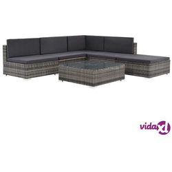vidaXL 6-cz. zestaw wypoczynkowy do ogrodu, poduszki, rattan PE, szary Darmowa wysyłka i zwroty