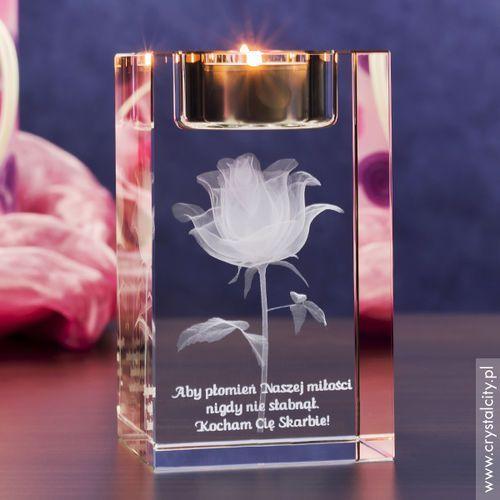 Świeczniki, RÓŻA 3D Kwiat Miłości ♥ personalizowany świecznik • GRAWER 3D