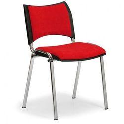 Krzesło konferencyjne SMART - chromowane nogi, bez podłokietników, czerwony