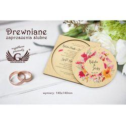 Zaproszenia ślubne z drewna - cyfrowy druk UV - ZAP017