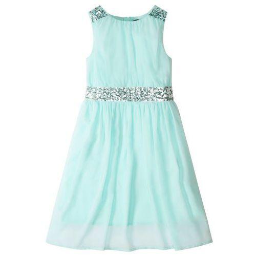Sukienki dla dzieci, Sukienka dziewczęca z cekinami bonprix pastelowy miętowy